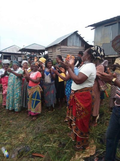 The Amassoma women clapping for the modern toilet facility sponsored by Hon Kate Okowo