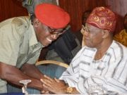 Youth and Sports Development Minister, Solomon Dalung with Information and Culture Minister, Alhaji Lai Mohammed