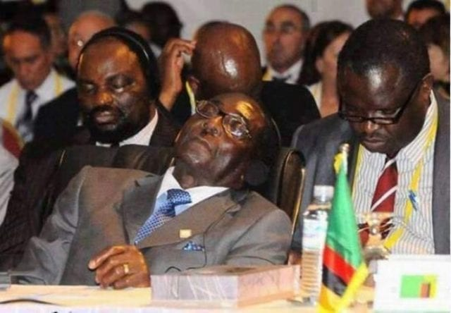 Zimbabwe's President Robert Mugabe and Aides fell asleep at an Event
