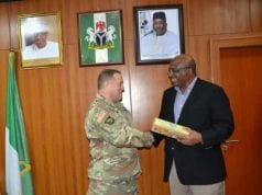 Adjutant General, California National Guard, Major General David S. Baldwin with Minister of Interior, Lt Gen. (rtd) Abdulrahman Bello Dambazau