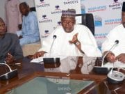 Ag. Group MD, Dangote Sugar, Engr. Abdullahi Sule, Chairman, Dangote Group, Aliko Dangote, Niger State Governor, Abubakar Sani Bello, at the MoU signing ceremony