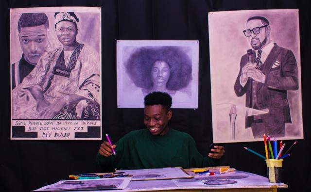 Alesh Akeem showcasing portraits of Wizkid, others
