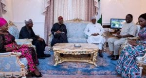 Alhaji Lai Mohammed visit President Muhammadu Buhari in London, accompanied by Mr Femi Adesina and others