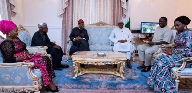 Alhaji Lai Mohammed visit President Muhammadu Buhari in London, accompanied by Mr Femi Adesina and others