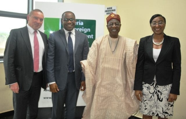 Minister of Information and Culture, Alhaji Lai Mohammed with the management of the Nigeria Sovereign Investment Authority at the corporate headquarters of the Authority in Abuja on Monday, August 7, 2017