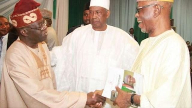 Asiwaju Bola Tinubu and APC National Chairman, Chief John Odigie-Oyegun with others