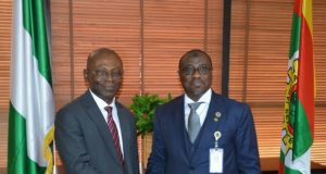 Auditor-General for the Federation, Mr Anthony Ayine and the Group Managing Director, NNPC, Dr. Maikanti Baru