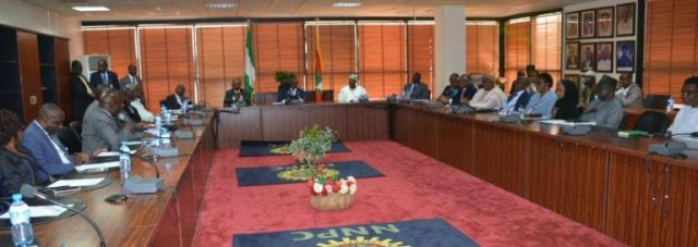 Cross Section of people during the Auditor-General for the Federation Mr. Anthony Mkpe Ayine's courtesy visit on the Group Managing Director of NNPC, Dr. Maikanti K. Baru in the NNPC towers - 03 August 2017