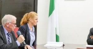 Danish Ambassador to Nigeria, Torben A. Gettermann, flanked by Danish Ministers addressing Governor Godwin Obaseki during a visit to the governor at the government house in Benin City, Edo State on Thursday, August 17, 2017