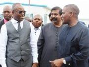 Dr. Ibe Kachikwu, Devakumar Edwin, and Aliko Dangote