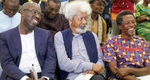 Edo State Governor, Mr. Godwin Obaseki; Nobel Laureate, Professor Wole Soyinka and the Chairman Presidential Advisory Committee Against Corruption (PACAC), Professor Itse Sagay