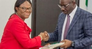 Edo State NOA Acting Director, Mrs. Grace Ewere Eseka with Edo State Governor Godwin Obaseki