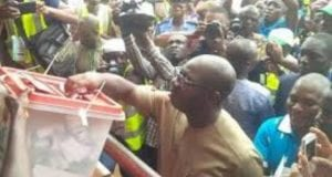 Governor Godwin Obaseki at a Voting Centre in Benin, Edo State