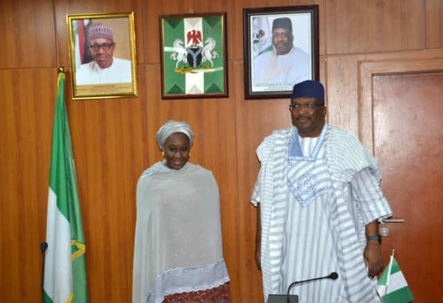 Minister of Interior, Lt Gen. (Rtd) Abdulrahman Bello Dambazau and Minister of State for Industry, Trade and Investment, Aisha Abubakar