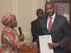 Mrs. Ene Nwankpa Co-Ordinator, R2K, Nigeria, Presenting Demo & Web Portal To Hon. Attorney-General Of The Federation & Minister Of Justice, Mr. Abubakar Malami