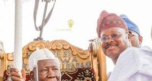 Olubadan of Ibadan Oba Saliu Adetunji with Oyo State Governor Abiola Ajimobi
