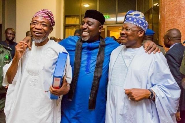 Osun State Governor Rauf Aregbesola, Imo State Governor Rochas Okorocha and Oyo State Governor Abiola Ajimobi