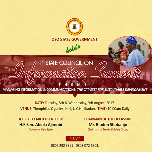 Oyo State Government (OYSG) Information Summit - Invitation