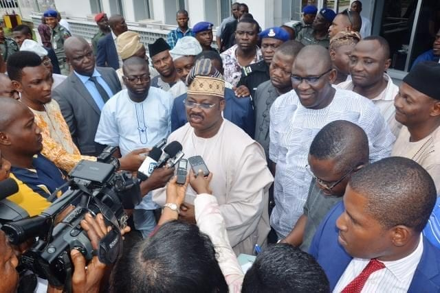 Oyo State Governor Abiola Ajimobi at a Press Briefing