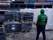 Picture of the Final Arrival of Equipment and Materials for the Completion of Enyimba FC Stadium