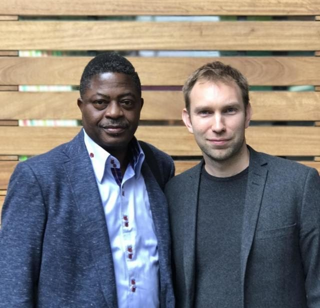 What3words CEO and co-founder Chris Sheldrick with Barrister Bisi Adegbuyi, Nigeria's Postmaster General