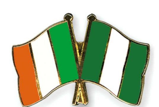 Crossed Flags of Ireland and Nigeria