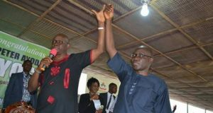Ekiti State Governor Ayodele Fayose presents his Deputy, Prof. Kolapo Olusola as the PDP adopted Governorship Candidate for 2018 Election