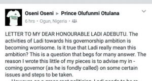 Facebook Letter to My Dear Honourable Ladi Adebutu by Oseni O