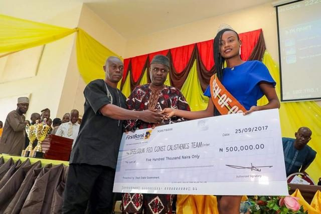 Presentation of N500,000 Cheque to the winner 'Queen of Osun' of the State of Osun Calisthenics Competitions which held in the 9 Federal Constituencies in the state.
