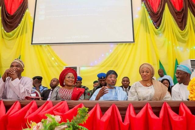 Governor Rauf Aregbesola with wife and Deputy Governor of the State of Osun during the state's Calisthenics Competitions which held in the 9 Federal Constituencies in the state.