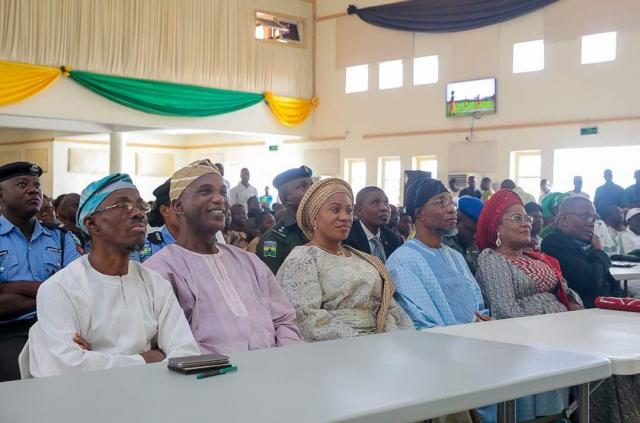 Governor Rauf Aregbesola with wife, Deputy Governor and Cross Section of Participants during the state's Calisthenics Competitions which held in the 9 Federal Constituencies in the state.