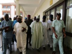 Chief Obasanjo and Senator Markafi step out after the two hours meeting