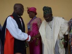 Hon Sonuga pays homage to the Rt Revd (Dr) Ayo Awosoga, Bishop of Ijebu Anglican Diocese