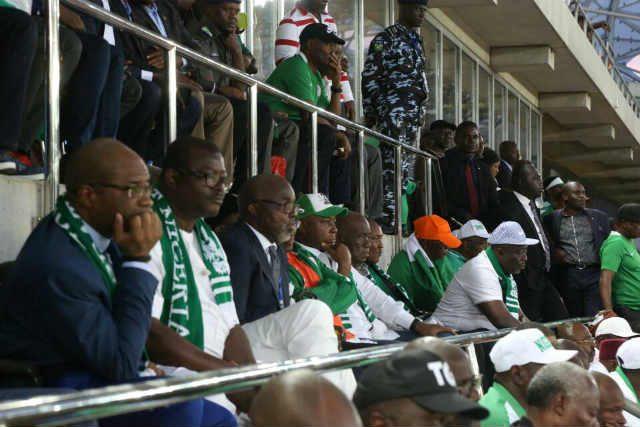 Senator Bukola Saraki and others watching the Super Eagles Russia 2018 Qualifying Match in Uyo