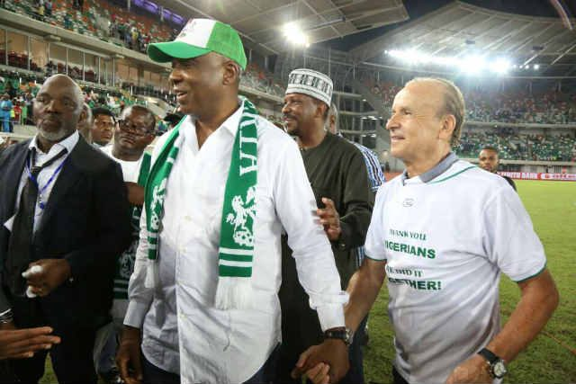 Senator Bukola Saraki and others with the Super Eagles' Coach during Russia 2018 Qualifying Match in Uyo