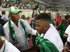 Senator Bukola Saraki congratulates Super Eagles in Uyo