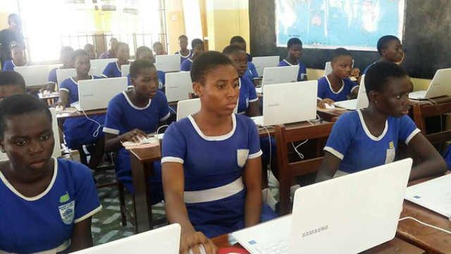 Cross-section of young Africans learning basic coding skills during Africa Code Week 2017 in Ghana