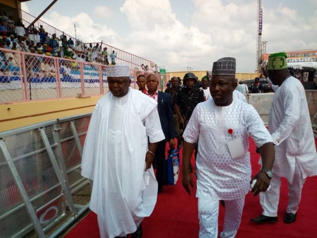 Hon Ladi Adebutu arrives the venue of the ceremony with Asiwaju Bola Oluwole