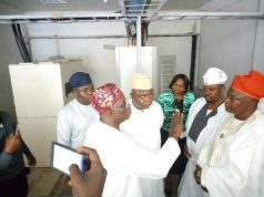 Hon Adebutu with other Reps Inside the telecommunication building at Oniyanrin, Oyo State