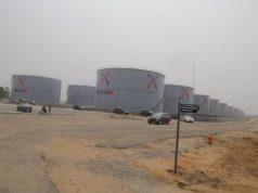 Side view of the 300m litres Petrolex Mega Oil City's Tank Farm
