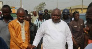Hon Ladi being welcomed to the venue by the PDP Chairman, Sagamu Local Government, Mr Dauda Adeyemi