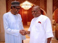 President Muhammadu Buhari in hand shake with Chief Orji Uzor Kalu