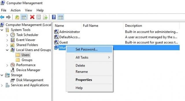 "Select the locked out admin account and right-click on it and choose ""Set Password"""