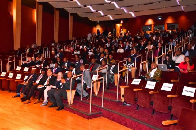 Participants listening to Keynote Address being delivered by Dr Bukola Saraki at Georgetown University, Washington D.C's Africa Business Conference (#GTABC2018)
