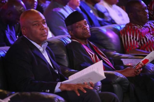 Senator Bukola Saraki and VP Yemi Osinbajo at the Night of Tribute and Songs organized in honour of the late statesman, Dr Alex Ekwueme