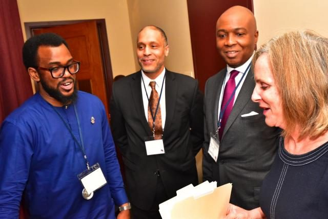 Senator Bukola Saraki with others at Georgetown University, Washington D.C's Africa Business Conference (#GTABC2018)
