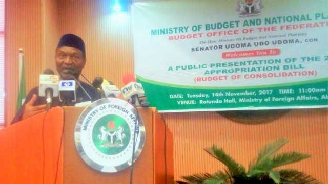 Senator Udoma Udo Udoma during a Public Presentation on Appropriation Bill - November 2017