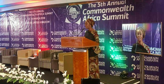 H.E Mrs Toyin Ojora Saraki delivering a keynote address to Commonwealth Africa Summit in London, UK on 14th March 2018