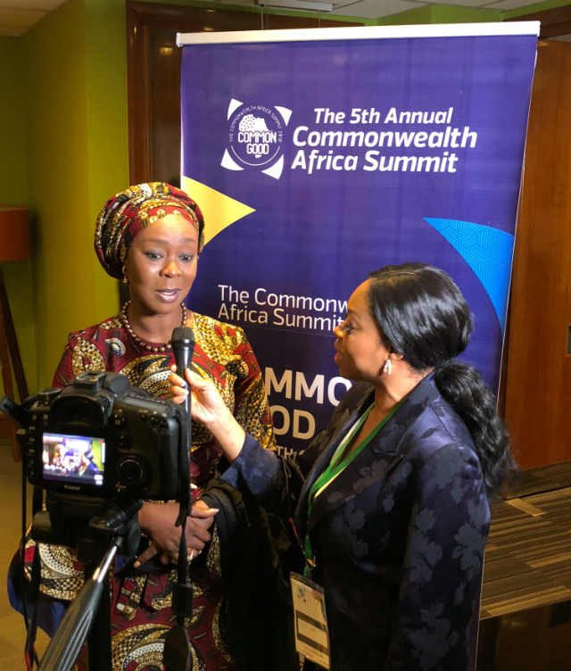 H.E Mrs Toyin Ojora-Saraki post-speech Interview at the Commonwealth Africa Summit in London, UK on 14th March 2018