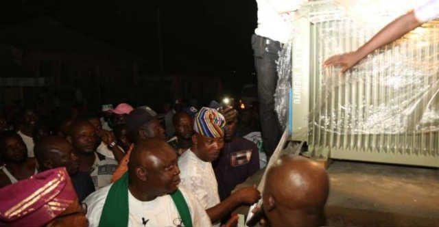 Hon Ladi Adebutu hands over the 500KVA Transformer to Isheri Town